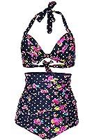 Popular Flora Polka Vintage High Waisted Bikini Swimsuits Swimwear
