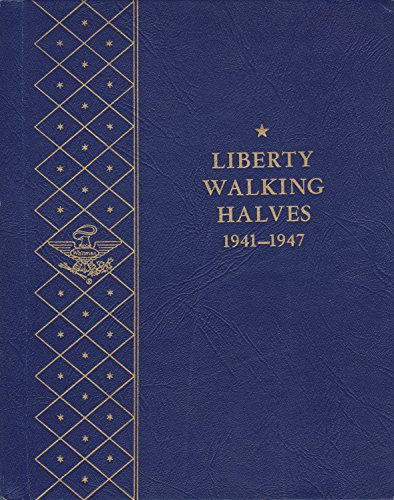 1941-1947 LIBERTY WALKING HALVES USED WHITMAN BOOKSHELF SERIES No 9424:2.00 COIN; ALBUM, BINDER, BOARD, CARD, COLLECTION, FOLDER, HOLDER, PAGE, PORTFOLIO, PUBLICATION, SET, VOLUME (1944 Walking)