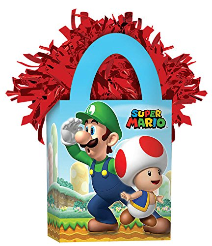 [Amscan Boys Super Mario Brothers Mini Tote Party Balloon Weight, 5.7 oz, Blue/Red] (Super Mario Brothers Toad Toddler Costume)