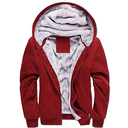 LBL Men's Pullover Winter Workout Fleece Hoodie Jackets Full Zip Wool Warm Thick Coats