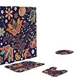 Aibiner 4-Piece Bathroom Rug Shower Curtain Mat Set Non Slip Printed Shower Mat & Contour Rug & Toilet Lid Cover & Shower Curtain 4 Pcs Set Home Bathroom Decor