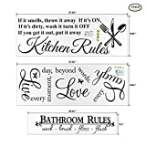 Home Decor Wall Art Stickers Bundle, Konsait Kitchen Rules/Live Every Moment /Bathroom Rules Vinyl Lettering Quotes Words Sayings Wall Decals Clings for Living Room Bathroom Kitchen Mirror