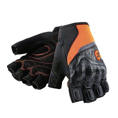 ILM ATV BMX MX MTB Riding Cycling Dirt Bike Fingerless Gloves Touchscreen Motorcycle Motocross Sports Men Women (Orange Half Finger, L)