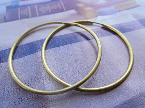 Vintage Raw Brass (Vintage 38mm Raw Brass Hoop Earrings With Stainless Steel Ear Wires 6Prs.)