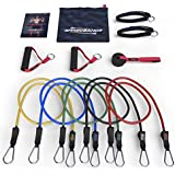Master of Muscle - Resistance Bands - 11pc Set - Superior Door Anchor Attachment - Ankle Strap for Legs Workout & Carry Case - Heavy Duty Anti-Snap Technology - Bonus 20 Fat Burning Workouts Ebook