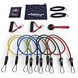 HOLIDAY SALE - Resistance Bands - 11pc Set - Superior Door Anchor Attachment - Ankle Strap for Legs Workout & Carry Case - Heavy Duty Anti-Snap Technology - Bonus 20 Fat Burning Workouts Ebook