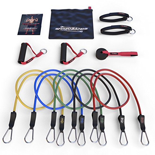 HOLIDAY SALE - Resistance Bands - 11pc Set - Superior Door Anchor Attachment - Ankle Strap for Legs Workout & Carry Case - Heavy Duty Anti-Snap Technology - Bonus 20 Fat Burning Workouts Ebook (Cuff Pull)