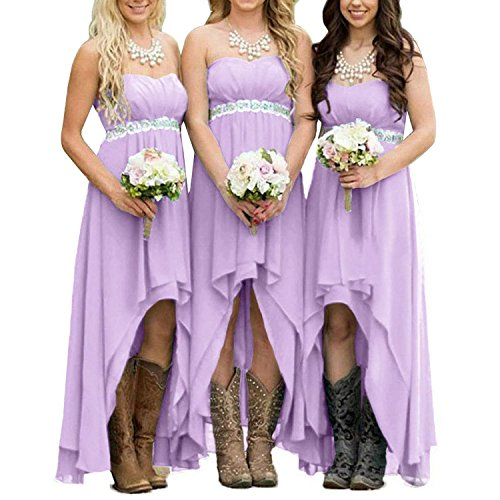 (EUMI Chiffon Bridesmaid Dresses High Low Strapless Country Bridal Wedding Party Gowns, Lavender 14 )