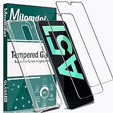 MPHUZO Funda para Samsung Galaxy A51 + [2 Pack] Cristal Templado Protector de Pantalla, Silicona Transparente TPU Carcasa para Samsung Galaxy A51