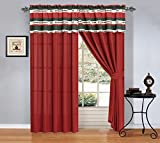 Red and White Curtains Modern Burgundy Red Black White floral Curtain set 120