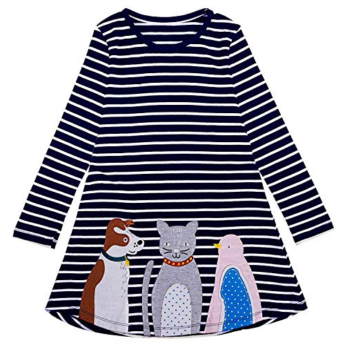 (Little Girl Cotton Casual Striped Animal Long Sleeve T-Shirt Dress(Dark Blue 5/5-6)