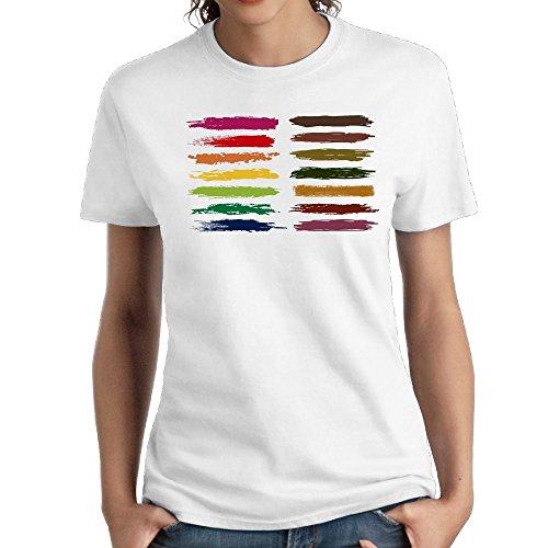 (Jac Jie Women's Cotton Short-Sleeved T-Shirt New Original Design Painted Logo White M)