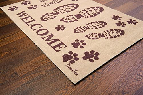 Floortex Doortex Printed Porch Mat, Indoor Entrance Mat, Welcome Mat with Boots Design, Rectangular, 24 x 39 FR4WB2439BG
