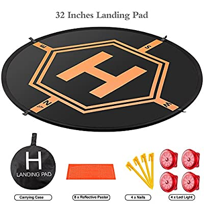 "Drone Landing Pad Aurtec 32"" Portable 4 LED Lights Included Fast-Fold RC Quadcopter Helipad for DJI Mavic Pro, Phantom 2 3 4 Pro, Inspire 2 1, Spark, Yuneec, 3DR Solo, GoPro Karma, Parrot & More"