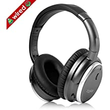 233621 H501 Active Noise Cancelling Headphones with Microphone, Wired Over Ear Headphones Stereo Headsets with Case for Smartphone, Laptop, Tablet, PC (Space Grey/Upgraded)