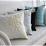 """E.life 18x18"""" Soft Canvas Christmas Winter Snowflake Style Cotton Linen Embroidery Throw Pillows Covers w/ Invisible Zipper for Bed Sofa Cushion Pillowcases for Kids Bedding (1 Pair, White)"""