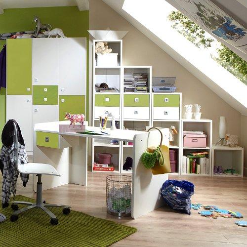 Jugendzimmer weiß apfelgrün Kleiderschrank Schreibtisch Regal Kinderzimmer