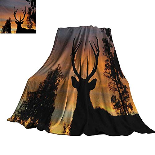 Angoueleven Antlers,Plush Throw Blanket Black Deer on Sky Background West Coast South Island New Zealand Nature Throws for Couch Bed Living Room 70