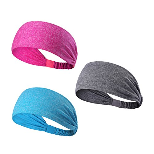 We Move Headbands for Men Women and Girls 3PCS/6PCS Stretchy Sweatband for Out Door Sports/Running/Yoga/Fitness/Cycling (3PCS-Pink/Light gray/Light blue)