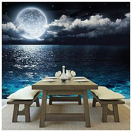 Amazon.com: azutura Full Moon Wall Mural Night Ocean Seascape Photo ...