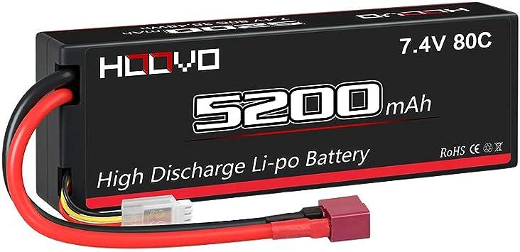 HOOVO 2S 7.4V 80C 5200mAh Lipo Battery Hard Case with Traxxas Plug for Popular RC Car RC Helicopter Quadcopter UAV Drone FPV Traxxas Slash Buggy Team Associated 2 Packs