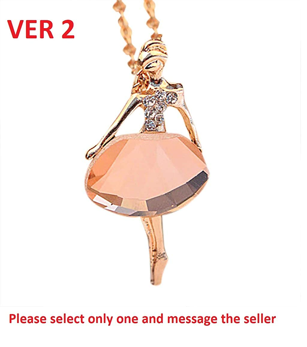 LQT Ltd Valentines Gift Jewelries Classical Stylish Elegant Attractive Romantic Jewelry Ballet Necklace Crystal Drill Sweater Chain Engraved Necklace Opal Necklace