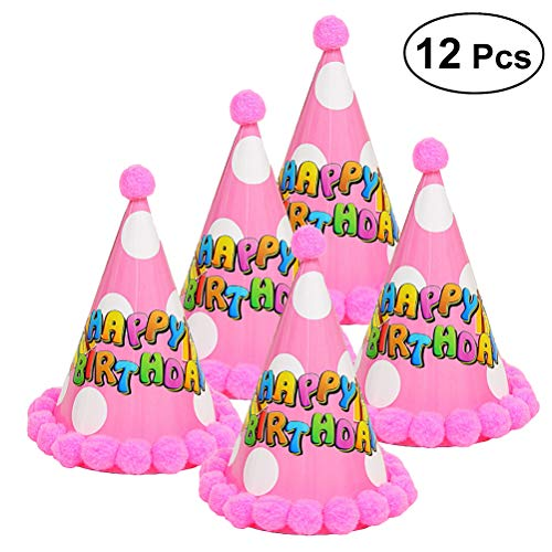 Hat Cone Craft - AMOSFUN 12pcs Cake Birthday Party Cone Hats with Pom Poms for Children (Star Pink)