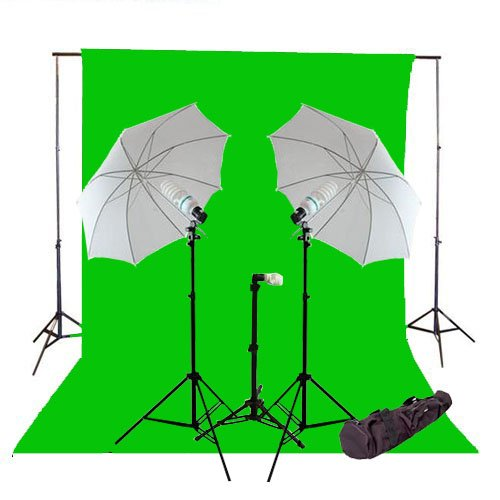 CowboyStudio 1000 Watt Photo Studio Continuous Triple Lighting Kit, 10 X 20ft Green Muslin Backdrop with 12 Feet Background Support System and Carry Case by CowboyStudio