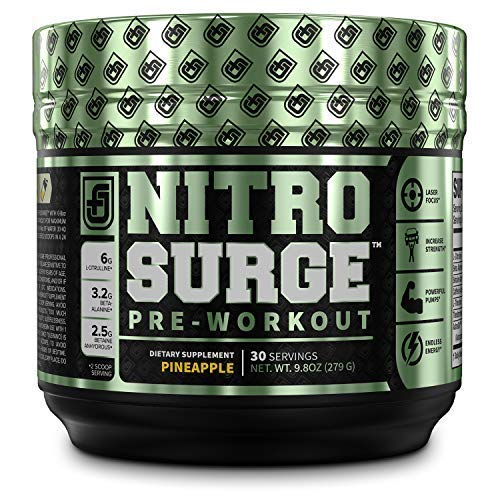 NITROSURGE Pre Workout Supplement - Endless Energy, Instant Strength Gains, Clear Focus, Intense Pumps - Nitric Oxide Booster & Powerful Preworkout Energy Powder - 30 Servings, Pineapple (Nitric Oxide Fat Burner)