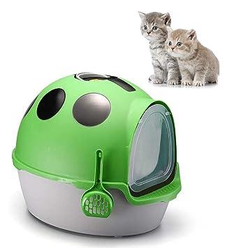 DJLOOKK Arenero Gato Caja de Arena para Gatos autolimpiante Coccinella Septempunctata en Forma de Inodoro Totalmente Cerrado para Gatos,Green: Amazon.es: ...