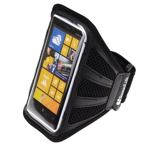 Workout Running Armband for Nokia Lumia 1020 Nokia Lumia 920 Nokia Lumia 925, ATandT, Sprint, T Mobile, Black Mesh (Armband Nokia Lumia 920)