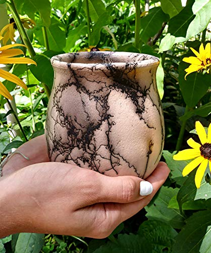 Horsehair Raku Pottery Vase, Home Decor for Flowers Floral Display, Handmade Ceramic, Native American Decor