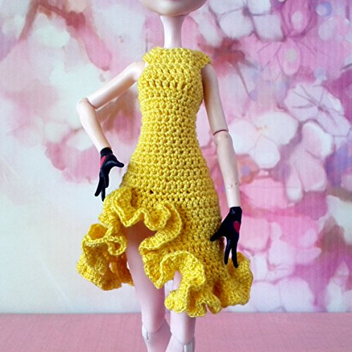 Yellow dress for MH dolls with curled skirt. Party dance handmade doll outfit. Lena's dolls -