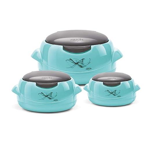 MILTON - Cacerola microondas, Azul y Gris, 3 tamaños: Amazon ...