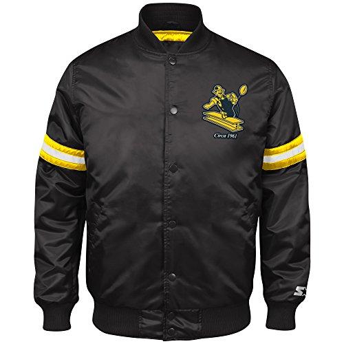 Nfl Pittsburgh Steelers Snap (NFL Pittsburgh Steelers Men's Retro Satin Full Snap Jacket, Medium, Black)