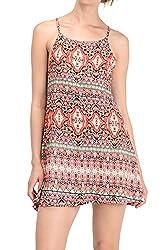 Aztec Print, Sleeveless High Neck Trap Dress (Large, Orange & Lime)