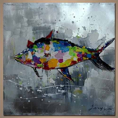 【モダン油絵工房】 油絵 現代絵画 手書きモダン油絵 アニマルライン 魚A 2FAE-544 100×100cm B01NCVRSBQ 魚A 魚A