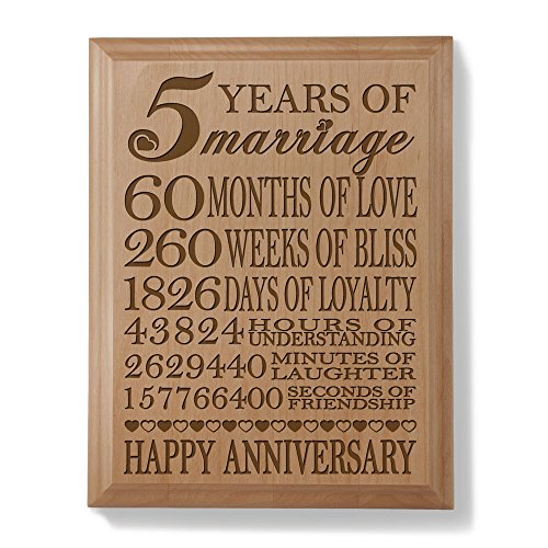 Kate posh 5th anniversary engraved natural wood plaque for 5th wedding anniversary gift