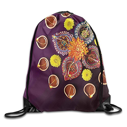 FYW Country Festive Celebration In Religious Sacred Day Diwali Flowers And Burning Candles Drawstring Bags Visor Backpack Sport Bag For Men & Women by FYW