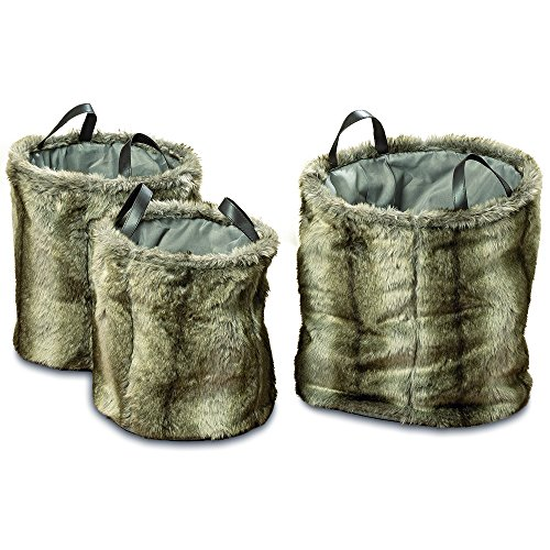 WHW Whole House Worlds Tribeca Faux Fur Barrel Storage Baskets, Silver Gray Ombre, Set of 3, Black Leather Handles, Slouchy Sides, Flat Bottoms,Durable Polyester, 17, 18, and 20 Inches Tall