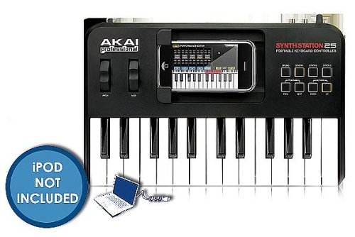 Akai Professional SYNTHSTATION25 25-Key Keyboard Controller For iPhone and iPod Touch ()