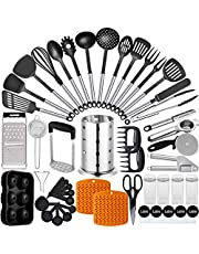 Artcome 50 Piece Kitchen Utensil Set Nylon and Stainless Steel Cooking Utensils Set with Utensil Holder Spatula Spoon Tongs Whisk Cookware Set Kitchen Gadgets Kitchen Tools Kitchen Accessories