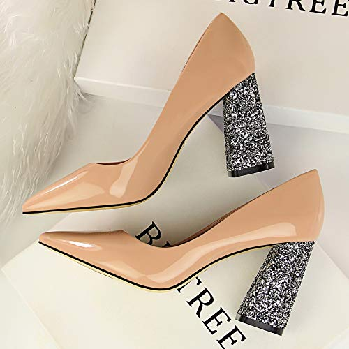 Autumn Yellow Mouth Leather Shallow Pink With Yukun High High 39 Pointed Heels Summer Shoes Thick Patent Women'S Khaki heels Shoes Wild Black qxEwfO