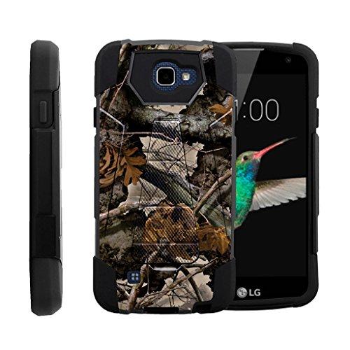 TurtleArmor | LG K4 Case | Optimus Zone 3 Case | LG Spree | LG Rebel [Dynamic Shell] Hybrid Dual Layer Hard Shell Kickstand Silicone Case - Tree Leaves Camouflage
