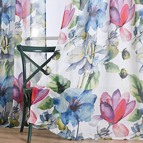 (Taisier Home Stylish Living Elegant Abstract Colorful Curtains Printed,Colorful Sheer Curtain Print,Fashion Curtain 63 Inch Lenth for Bedroom(Floral Print Curtain 2 Panels Set))