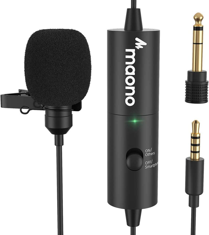 Lavalier Microphone MAONO AU-100R Rechargeable Omnidirectional Condenser Clip On Lapel Mic with LED Indicator for Recording, Interview, Vlogging, Voice Dictation, ASMR, Camera, DSLR, Smartphone, PC