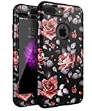 #3: iPhone 7 Plus Case,XIQI Flower Three Layer Heavy Duty Shockproof Cute Girls Woman Anti-Scratch Case Cover for iPhone 7 Plus 5.5 inch,New Black Roses