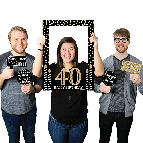 Big Dot of Happiness Adult 40th Birthday - Gold - Birthday Party Selfie Photo Booth Picture Frame & Props - Printed on Sturdy Material by Big Dot of Happiness