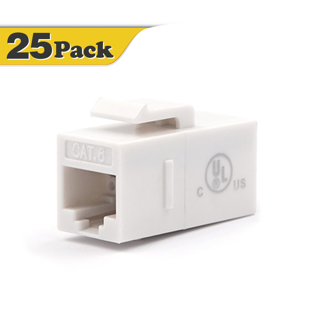 UL Listed VCE 2-Pack CAT6 RJ45 Keystone Jack Inline Coupler-White