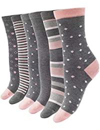 Women's Bamboo Casual Crew Socks - 6 Pairs Seamless Super Soft & Breathable Colorful Fashion Sock Size 9-11